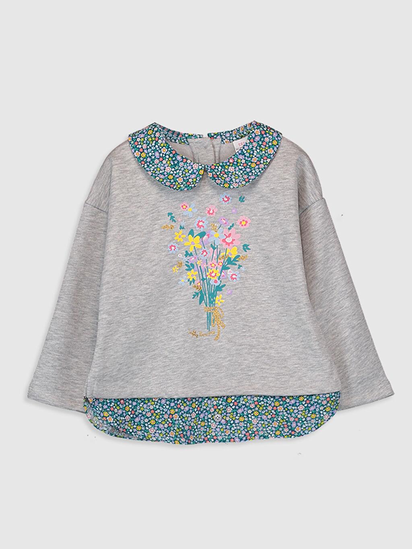 Gri Kız Bebek Desenli Sweatshirt 9WI205Z1 LC Waikiki