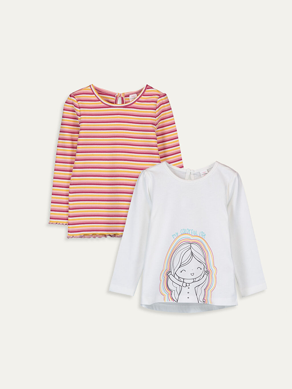 Ekru Kız Bebek Pamuklu Tişört 2'li  9WI610Z1 LC Waikiki