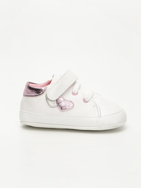 Beyaz Kız Bebek Deri Görünümlü Ayakkabı 9WI890Z1 LC Waikiki
