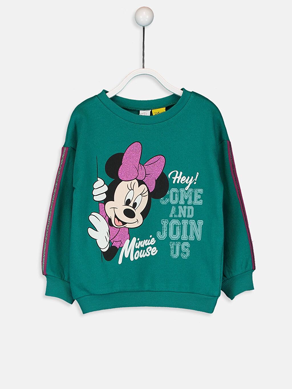 %100 Pamuk %100 Pamuk Düz Aksesuarsız Sweatshirt Standart Kapüşonsuz Bisiklet Yaka Üç İplik Kız Bebek Minnie Mouse Baskılı Sweatshirt