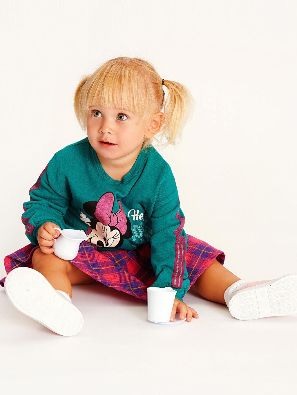 Turkuaz Kız Bebek Minnie Mouse Baskılı Sweatshirt 9WI905Z1 LC Waikiki