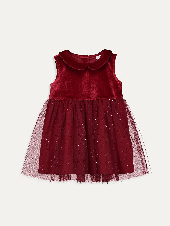 Kırmızı Kız Bebek Kadife Elbise 9WJ028Z1 LC Waikiki