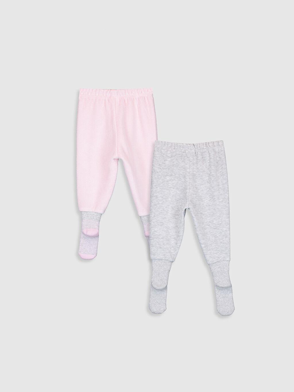 %54 Pamuk %46 Polyester Standart Pijama Alt Kadife Kız Bebek Çoraplı Pijama Alt 2'li
