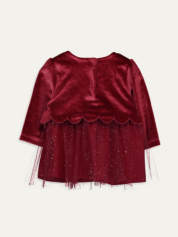%92 Polyester %8 Elastan %100 Pamuk Elbise Kız Bebek Kadife Elbise