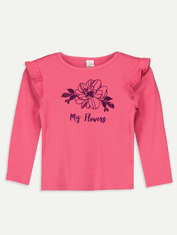 Pembe Kız Bebek Yazı Baskılı Pamuklu Tişört 9WJ876Z1 LC Waikiki