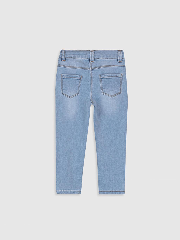 %99 Pamuk %1 Elastan Standart Standart Normal Bel Astarsız Jean Düz Kız Bebek Nakış Detaylı Jean Pantolon