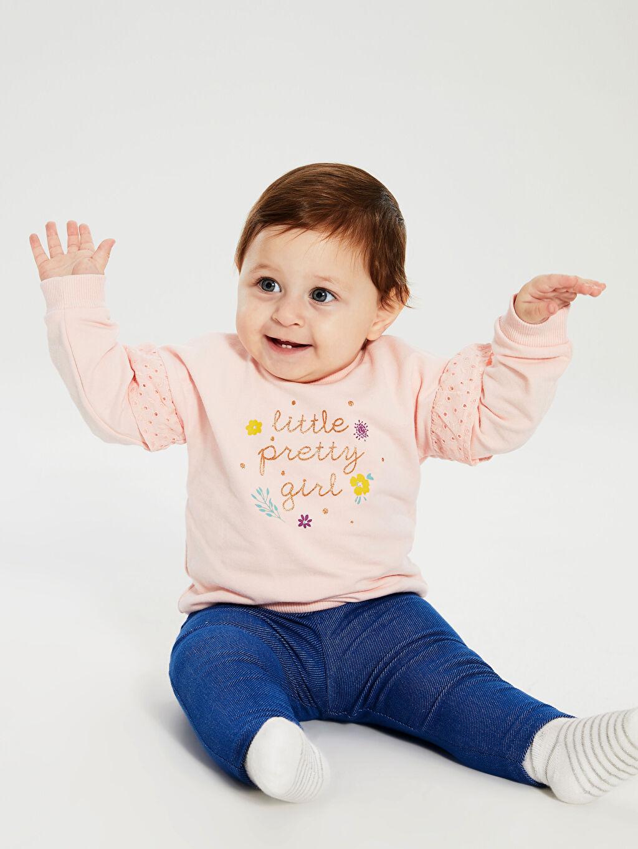%97 Pamuk %3 Elastan %68 Pamuk %29 Polyester %3 Elastan Takım Kız Bebek Tişört ve Pantolon