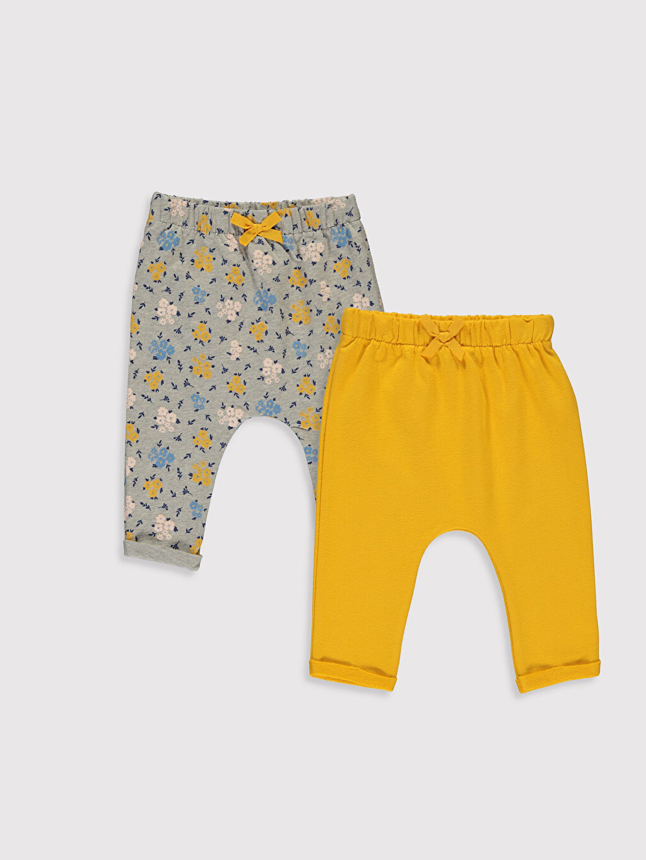 Sarı Kız Bebek Pamuklu Pantolon 2'li 9WK140Z1 LC Waikiki