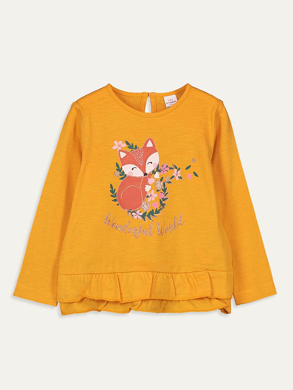 Turuncu Kız Bebek Pamuklu Tişört 9WK227Z1 LC Waikiki