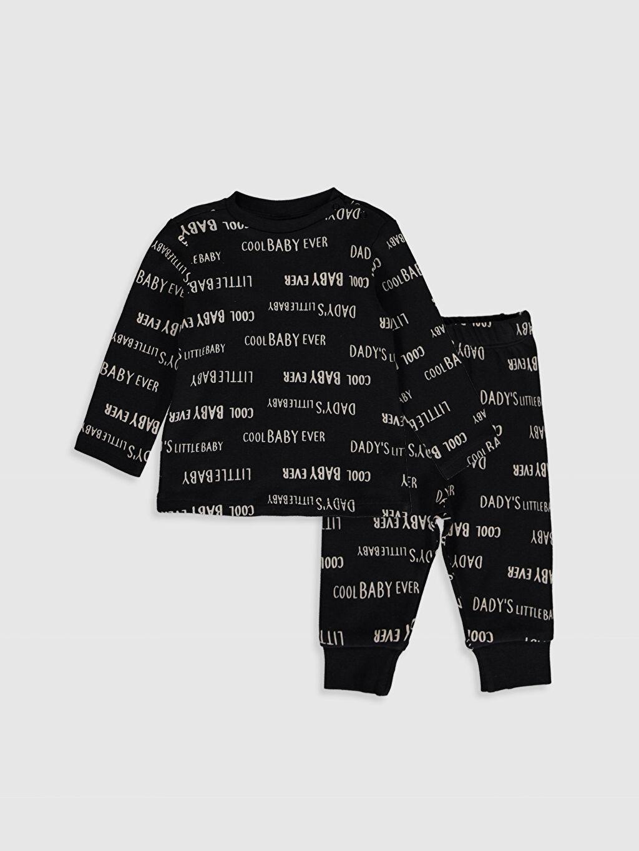 Siyah Erkek Bebek Slogan Baskılı Pijama Takımı 2'li 9WK378Z1 LC Waikiki