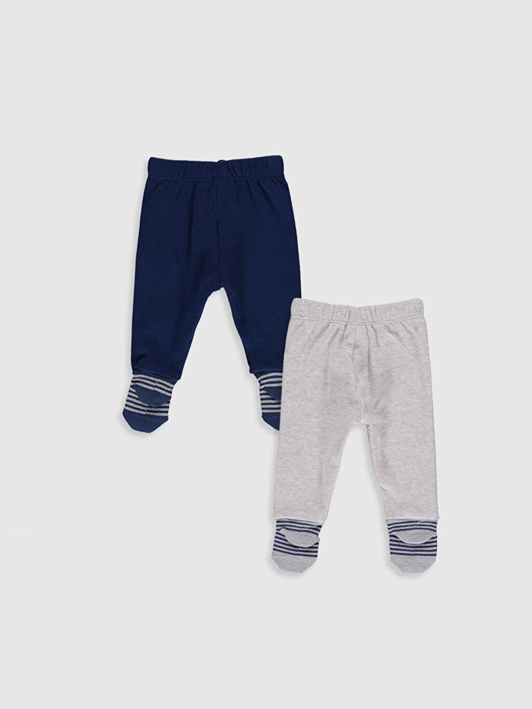 %100 Pamuk %100 Pamuk Standart Pijama Alt İnterlok Erkek Bebek Çoraplı Pijama Alt 2'li