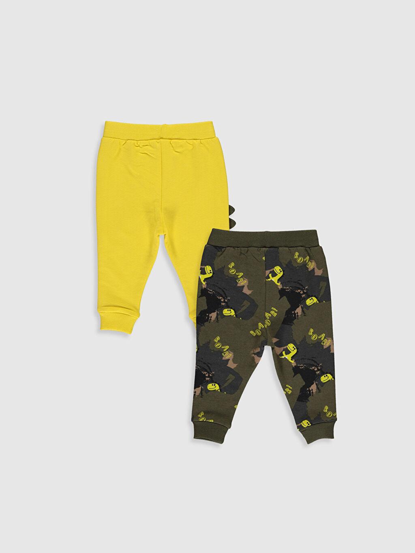 %97 Pamuk %3 Elastan Pantolon Erkek Bebek Jogger Pantolon 2'li