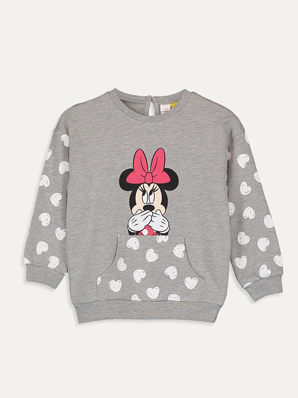 %67 Pamuk %33 Polyester Düz Standart Kapüşonsuz Bisiklet Yaka İnce Sweatshirt Kumaşı Aksesuarsız Sweatshirt Kız Bebek Minnie Mouse Baskılı Sweatshirt