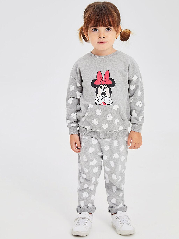Gri Kız Bebek Minnie Mouse Baskılı Sweatshirt 9WM131Z1 LC Waikiki