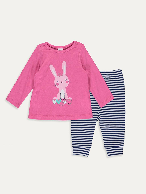 Pembe Kız Bebek Pamuklu Pijama Takımı 9WM535Z1 LC Waikiki