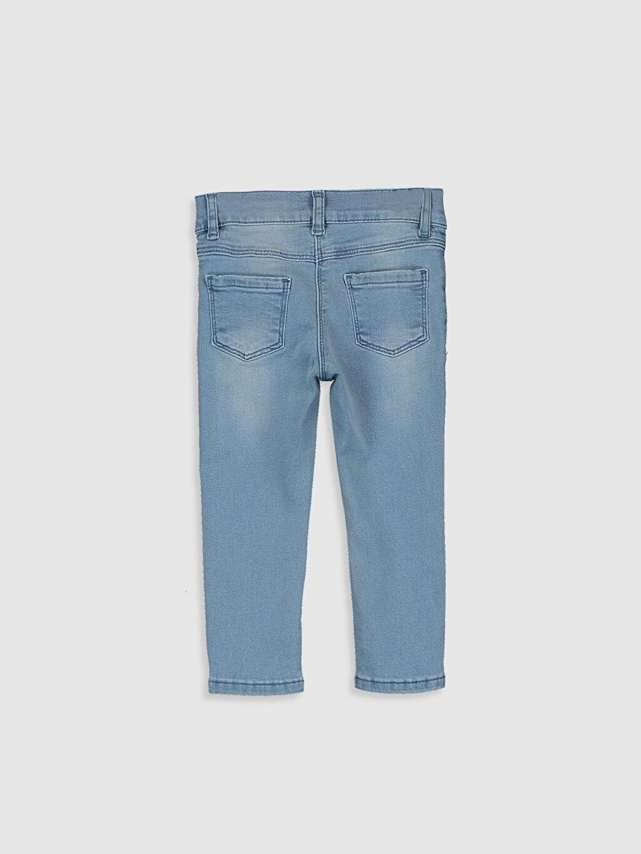 %90 Pamuk %7 Polyester %3 Elastan Normal Bel Astarsız Dar Jean Düz Standart Kız Bebek Nakış Detaylı Jean Pantolon
