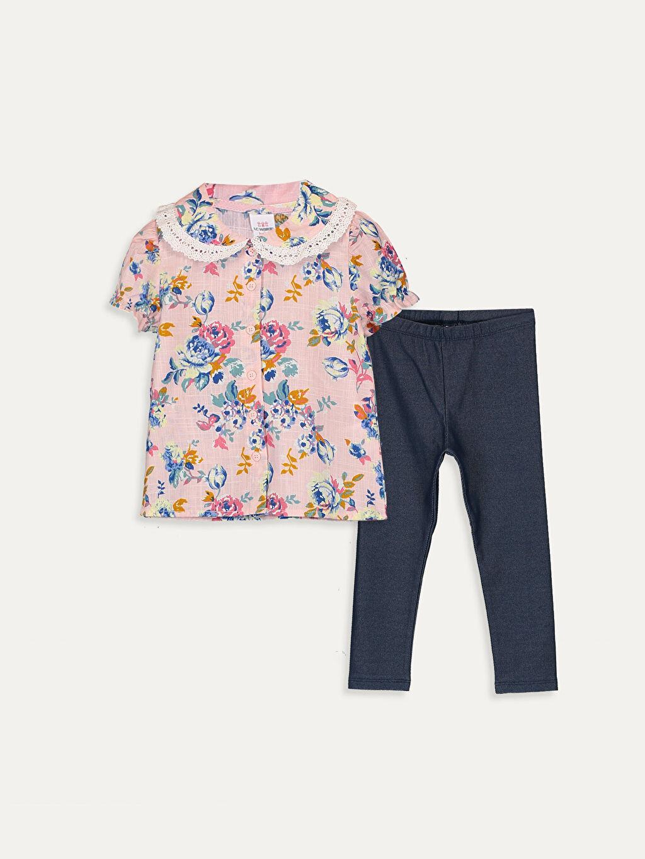 Pembe Kız Bebek Desenli Gömlek ve Tayt 9WN136Z1 LC Waikiki