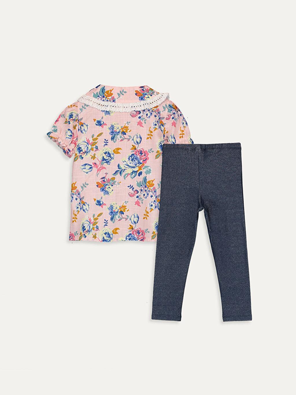 %100 Pamuk %75 Pamuk %20 Polyester %5 Elastan %100 Pamuk Takım Poplin Çizgili Kız Bebek Desenli Gömlek ve Tayt