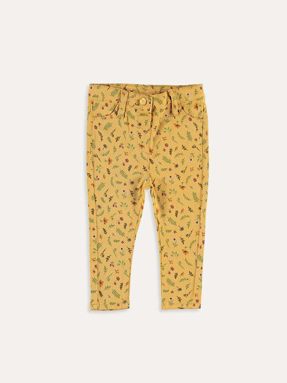Sarı Kız Bebek Desenli Poplin Pantolon 9WN986Z1 LC Waikiki
