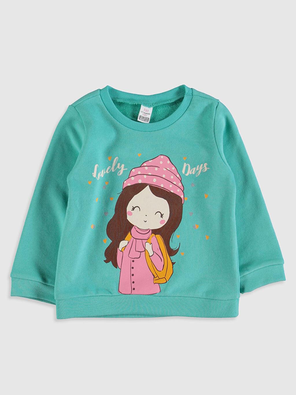 Turkuaz Kız Bebek Baskılı Sweatshirt 9WO205Z1 LC Waikiki