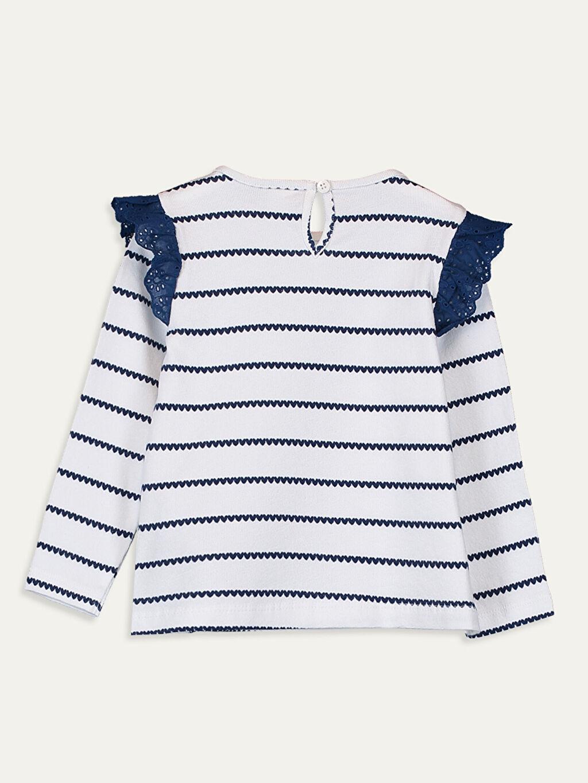 %100 Pamuk %100 Pamuk Uzun Kol Çizgili Penye Standart Tişört Bisiklet Yaka Günlük Kız Bebek Çizgili Pamuklu Tişört