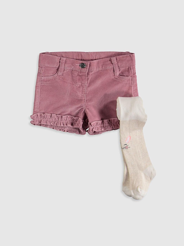 Pembe Kız Bebek Gabardin Şort ve Külotlu Çorap 9WO261Z1 LC Waikiki