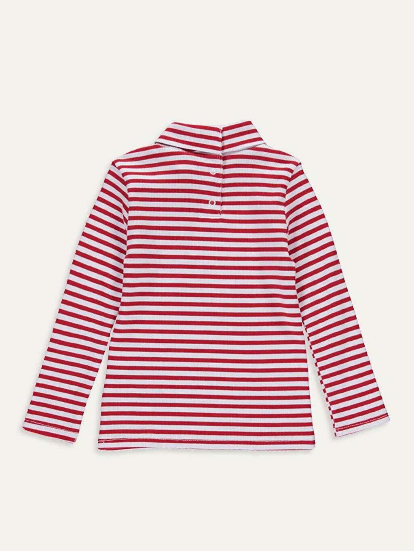 %95 Pamuk %5 Elastan Standart Tişört Uzun Kol Aksesuarsız Balıkçı Yaka Ribana Çizgili Kız Bebek Pamuklu Çizgili Tişört