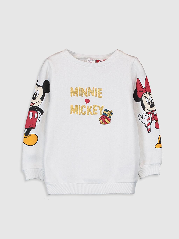 Ekru Kız Bebek Mickey ve Minnie Mouse Baskılı Sweatshirt 9WP557Z1 LC Waikiki