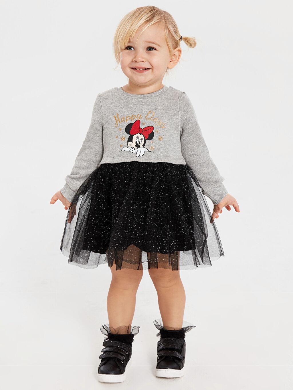 Gri Kız Bebek Minnie Mouse Baskılı Elbise 9WP636Z1 LC Waikiki