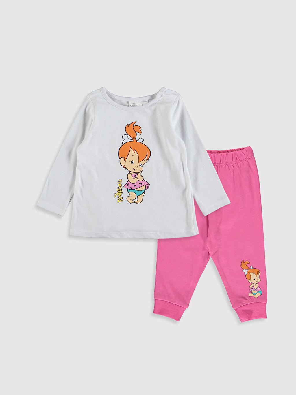 Beyaz Kız Bebek Taş Devri Çakıl Baskılı Pijama Takımı 9WP663Z1 LC Waikiki