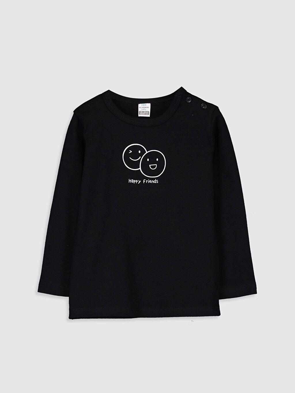 Siyah Erkek Bebek Baskılı Pamuklu Tişört 9WP731Z1 LC Waikiki