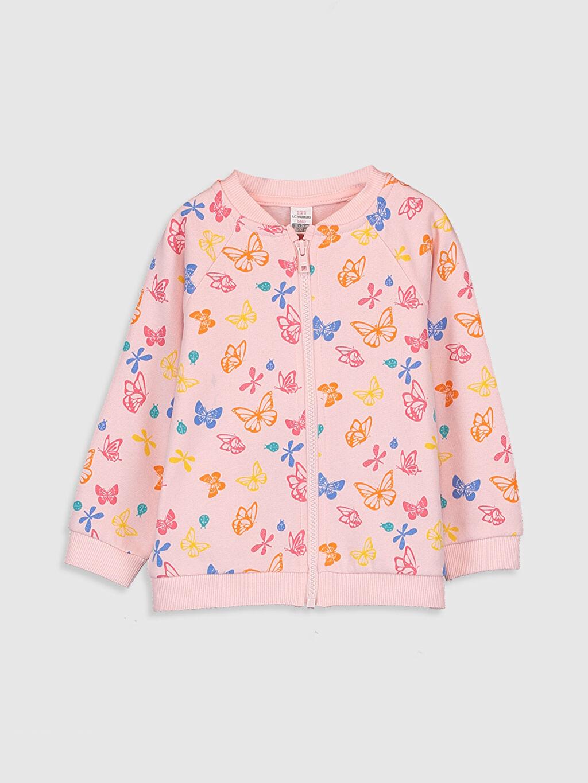 Pembe Kız Bebek Desenli Fermuarlı Sweatshirt 9WP869Z1 LC Waikiki