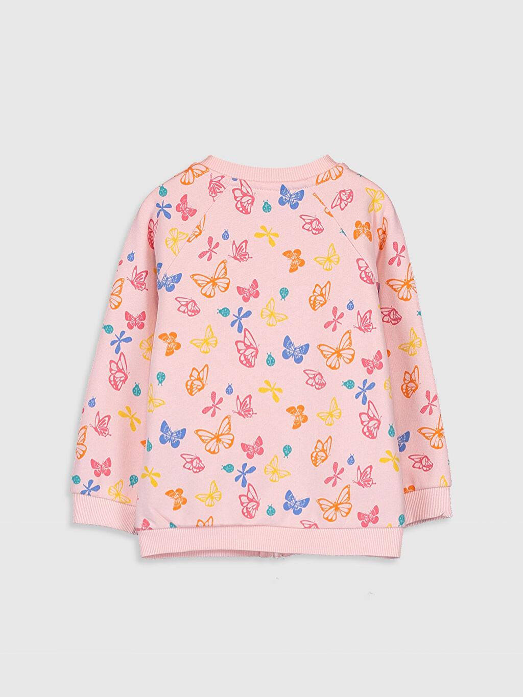 %91 Pamuk %9 Polyester Baskılı Kapüşonsuz Üç İplik İçi Tüylü Aksesuarsız Sweatshirt Kız Bebek Desenli Fermuarlı Sweatshirt