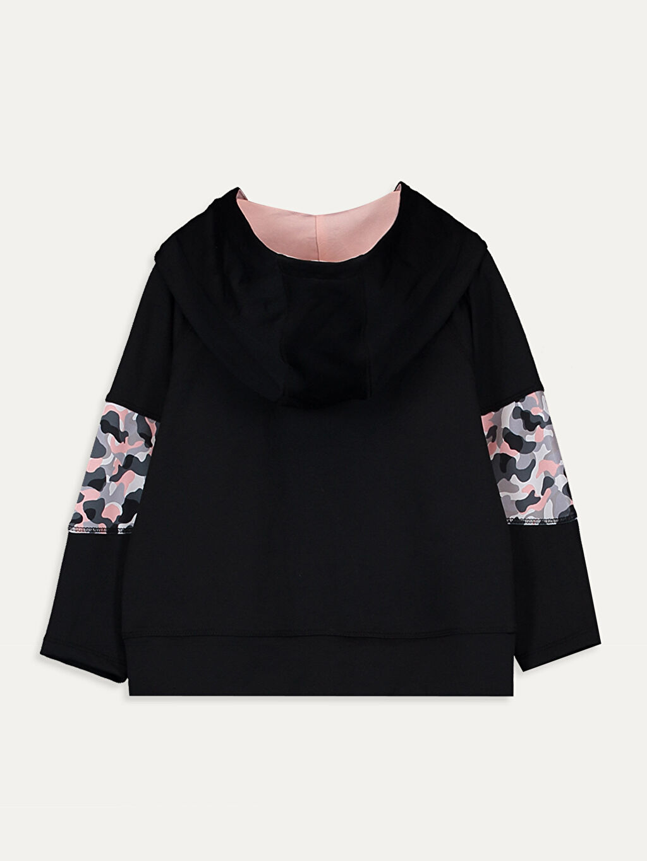 %91 Polyester %9 Elastan Kapüşonlu Düz Penye Sweatshirt Kız Bebek Desenli Sweatshirt