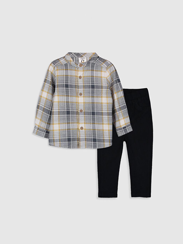 Gri Erkek Bebek Gömlek ve Pantolon 2'li  9WQ985Z1 LC Waikiki