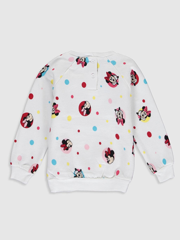 %92 Pamuk %8 Polyester Kalın Sweatshirt Kumaşı Aksesuarsız Sweatshirt Standart Baskılı Kapüşonsuz Bisiklet Yaka Kız Bebek Minnie Mouse Baskılı Sweatshirt