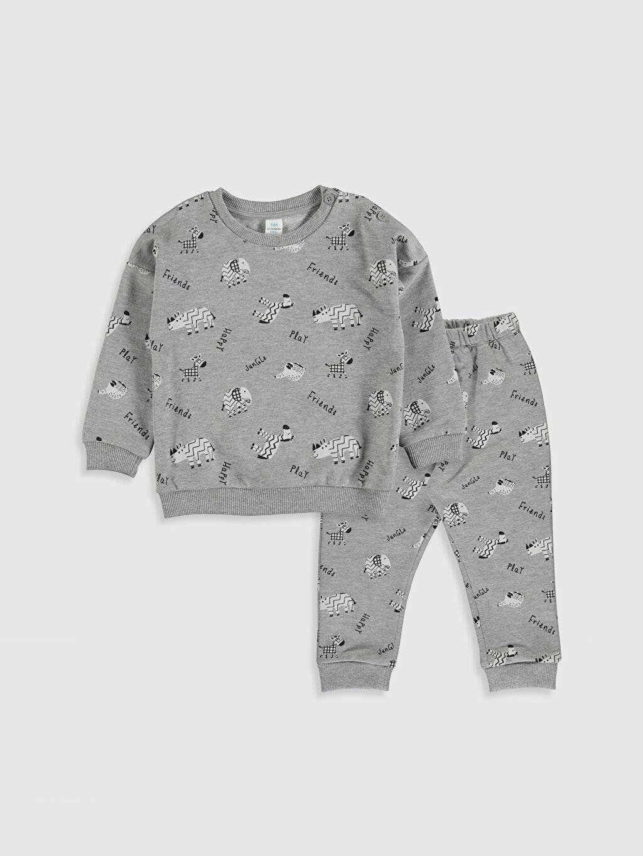 Gri Erkek Bebek Baskılı Sweatshirt ve Pantolon 9WT736Z1 LC Waikiki