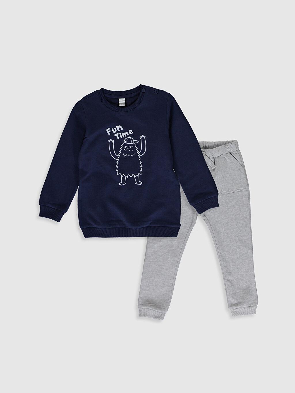 Lacivert Erkek Bebek Sweatshirt ve Pantolon 9WU053Z1 LC Waikiki