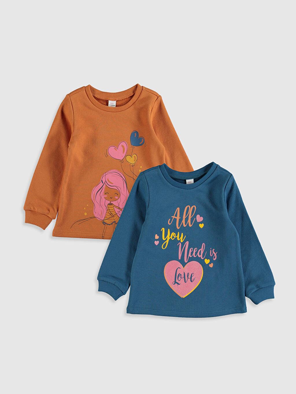 Turuncu Kız Bebek Desenli Sweatshirt 2'li 9WU490Z1 LC Waikiki