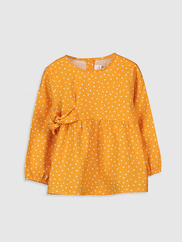 Sarı Kız Bebek Puantiyeli Twill Bluz 9WV021Z1 LC Waikiki