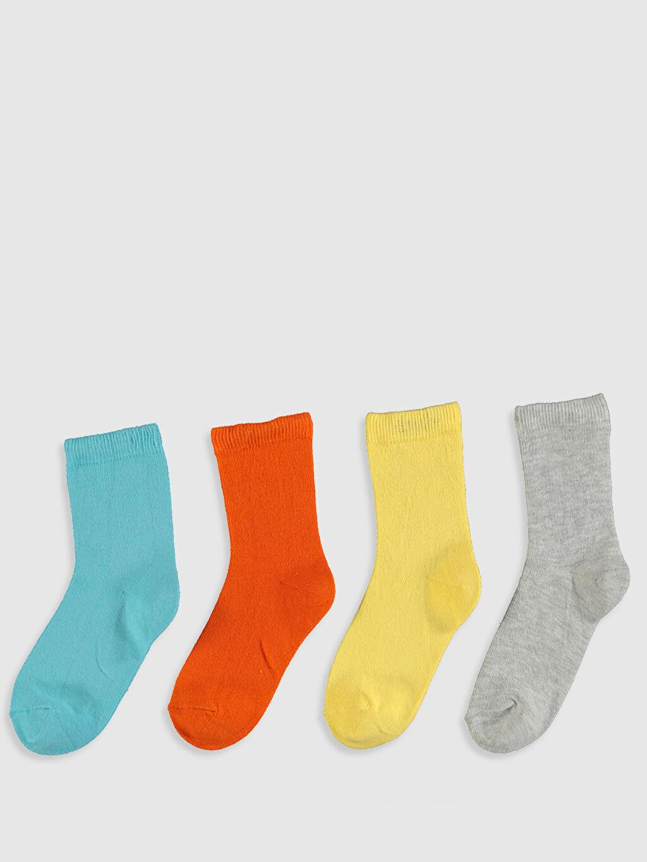 %80 Pamuk %18 Poliamid %2 Elastan Günlük Orta Kalınlık Düz Dikişli Soket Çorap Erkek Bebek Soket Çorap 4'lü