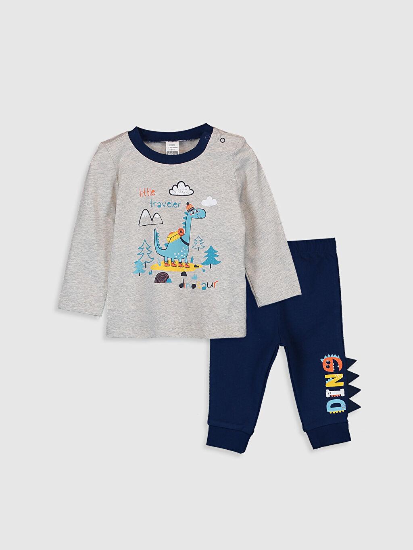 Gri Erkek Bebek Baskılı Pijama Takımı 9WV500Z1 LC Waikiki