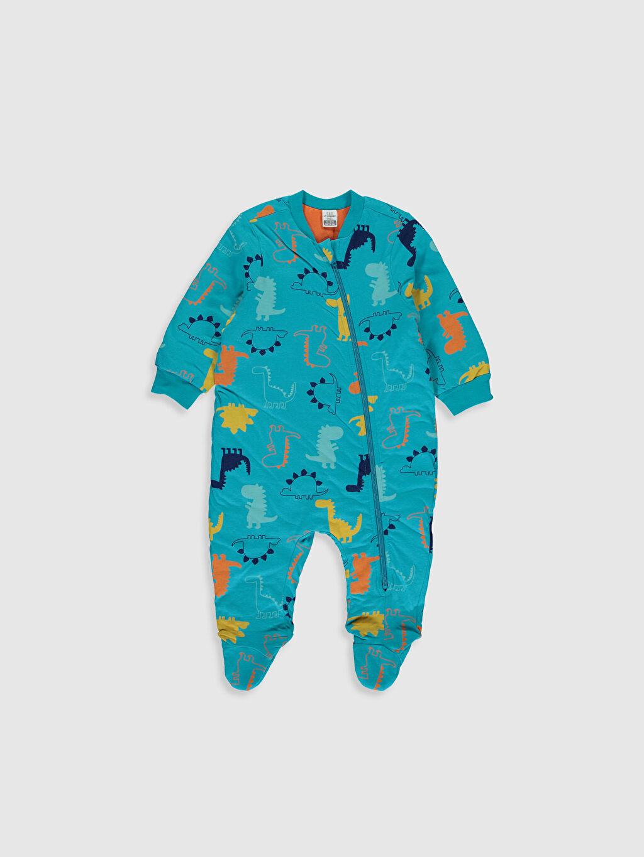 Turkuaz Erkek Bebek Desenli Fermuarlı Uyku Tulumu 9WY251Z1 LC Waikiki