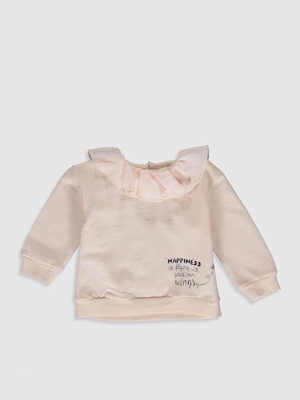 Bej Kız Bebek Fırfırlı Kalın Sweatshirt 9WY501Z1 LC Waikiki