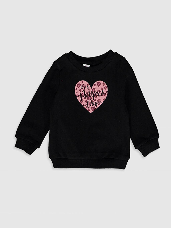 Siyah Kız Bebek Baskılı Sweatshirt 9WA180Z1 LC Waikiki