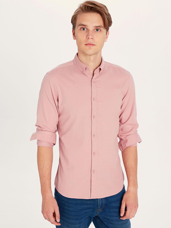 Düz Ekstra Dar Uzun Kol Gömlek Düğmeli Gömlek Yaka Gömlek Ekstra Slim Fit Armürlü Uzun Kollu Poplin Gömlek