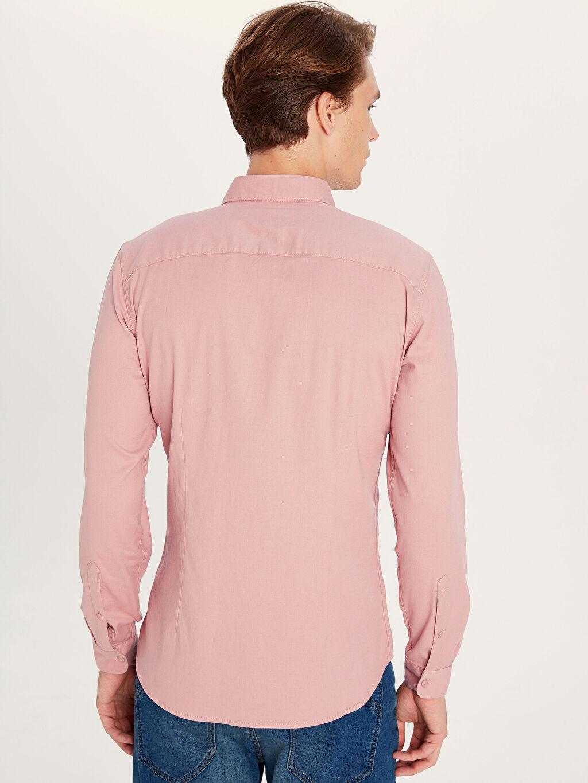 Erkek Ekstra Slim Fit Armürlü Uzun Kollu Poplin Gömlek