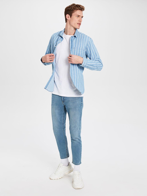 %100 Pamuk %100 Pamuk Jean Gömlek Gömlek Yaka Çizgili Astarsız Uzun Kol Orta Kalınlık Regular Fit Jean Gömlek