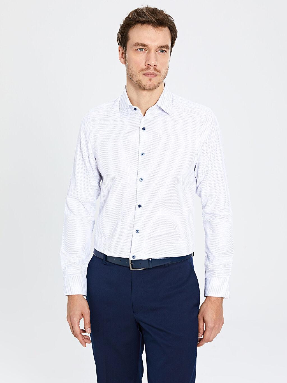 Lacivert Slim Fit Uzun Kollu Armürlü Gömlek 0S0686Z8 LC Waikiki