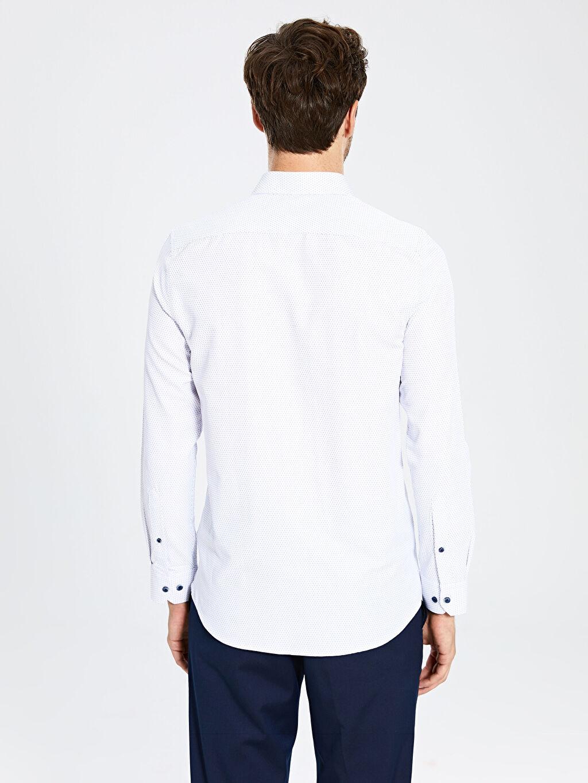 %56 Pamuk %44 Polyester Slim Fit Uzun Kollu Armürlü Gömlek